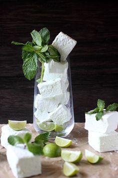 Mojito Marshmallows - homemade marshmallows are wonderful & even better infused with mojito. : Mind Over Batte Marshmallows - homemade marshmallows are wonderful & even better infused with mojito. : Mind Over Batter How To Make Marshmallows, Recipes With Marshmallows, Homemade Marshmallows, Homemade Candies, Dipped Marshmallows, Mojito, Chocolates, Candy Recipes, Fudge Recipes