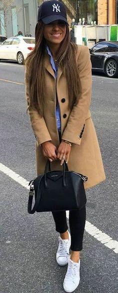 Fall fashion | Baseball cap, neutral coat, blue blouse and sneakers