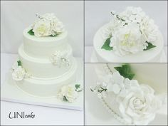 H27.  Hääkakku. Valkoisia ruusuja, pioneja, hortensioita ja kieloja.  Wedding cake with white roses, peonies, hydrangeas and lily of the valley.