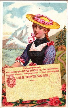 CHROMO CACAO VAN HOUTEN - WOMEN OF  DIFFERENT NATIONS WITH POSTCARDS - SWITZERLAND