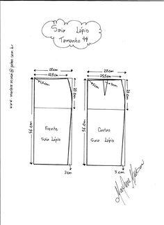 Esquema de Modelagem de Saia Lápiis tamanho 44.