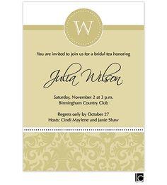 Gold bridal shower invitation