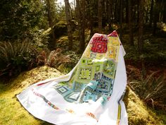 Modern Quilt Rainbow Quilt Twin Quilt Full Quilt by TheVinylTeacup