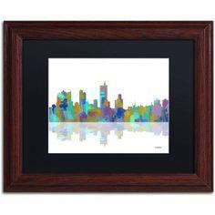 Trademark Fine Art Fort Worth Texas Skyline Canvas Art by Marlene Watson Black Matte, Wood Frame, Size: 16 x 20, Multicolor