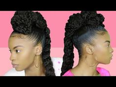 Marley UPDO w/a JUMBO braid | UNICORN Hairstyle - YouTube