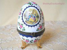 Limoges porcelain egg shaped trinket box by ShabbyGoesLucky