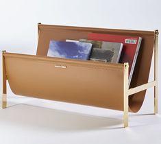 Contemporary magazine rack / residential / steel / leather   OPINION CIATTI
