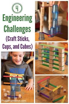 Four Engineering Challenges for Kids - With Craft Sticks, Cups, and Cubes. Add to the summer boredom buster and learning list! Great activities for kids.