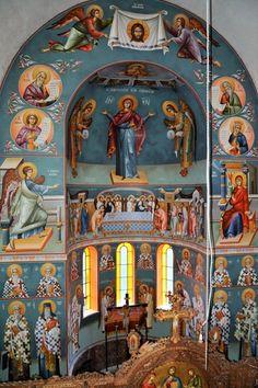 Themis Petrou - Saint Athanasio's Church - Find Creatives Byzantine Art, Byzantine Icons, Fresco, Trinidad, Church Interior Design, Christ Pantocrator, Orthodox Icons, Nashville Tennessee, Athens Greece
