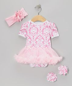 Take a look at this Pink Damask Skirted Bodysuit Set - Infant by Baby Gem by Royal Gem Clothing on #zulily today!