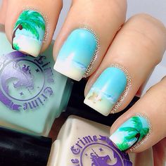 Tropical Nails With Starfish and Palm Trees