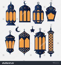 Ramadan Kareem - Islamic Holy Nights, Theme Design background, Ramadan latern, saint fest, arabian and turk religion culture set vector Eid Crafts, Ramadan Crafts, Islamic Motifs, Islamic Art, Ramadan Design, Diy Eid Decorations, Eid Mubarak Wallpaper, Ramadan Lantern, Ramadan Activities