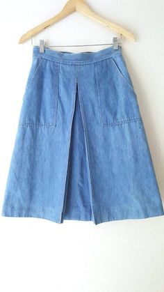 Jean Skirt Size Small High Waist Pleat Denim Vintage 80s Grunge Denim  #KoretCityBlues