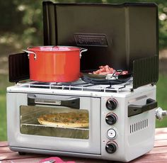 Coleman propane stove/oven  Well, a really nice one if camping with luxuries.