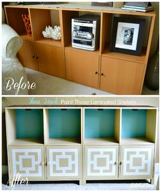 Add feet to an out date piece of furniture and paint it! I LOVE the geometric pattern she painted, inspired by a pillow show found!