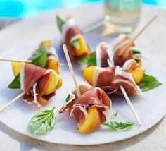 Ham & peach nibbles #skewer, #tapas, #antipasti
