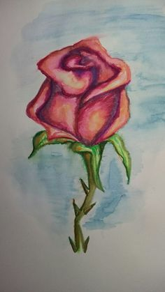 Rose with watercolour brush pens..
