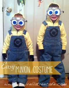 Make this easy minion costume with a yellow hoodie, overalls, black gloves, and a pair of hardware store goggles.