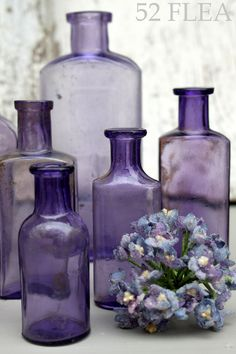Purple Bottle - Vintage Glass.