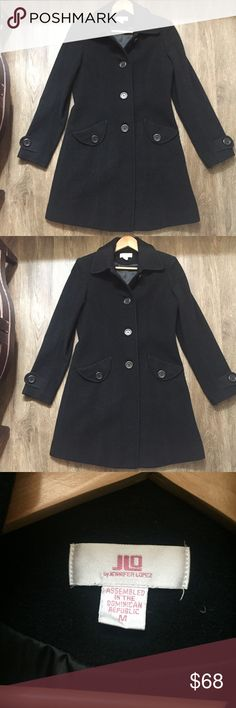 J.Lo Black Coat Size Medium 80% Wool Super cute black long coat from J.Lo! Perfect for fall/winter! Size M. 80% wool! Jennifer Lopez Jackets & Coats Trench Coats