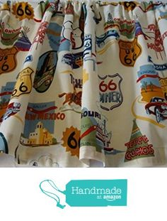 Valance for Route 66 Theme Print on White Background Window Treatment Curtain Topper from The Sweet and Simple Home