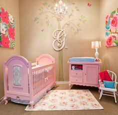 Gorgeous!  LOVE the monogram idea for ANY space...Think I'd have done it in lighter pink or white for crib n furniture