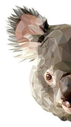Koalafied by INDYVISUAL design lab. on Behance♥♥ Source by mehmetselimdikm Geometric Drawing, Geometric Art, Art Watercolor, Polygon Art, Australian Animals, Animal Faces, Animal Wallpaper, Cat Art, Vector Art