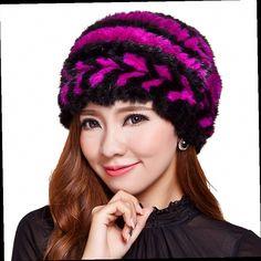 50.00$  Watch here - http://aliicm.worldwells.pw/go.php?t=32741085342 - Mink hat Ladies fashion rabbit fur ball fur hat Mink knit hats Genuine Mink Fur floral Beanies   50.00$