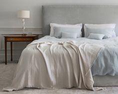 Light blue, cream and grey  Duck Egg Linen Duvet Covers