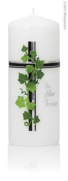 Mourning Candle Ivy green black In silent mourning 200 / 80mm (green)   Rakuten  - Papa   #Kerzendekoration #Kerzentrauer Mugs, Tableware, Embellishments, Dekoration, Ikea Candles, Ivy, Dinnerware, Tumblers, Tablewares