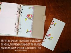 A5 size letter writing paper trimmed down to use as list paper in a personal size filofax / medium kikki k