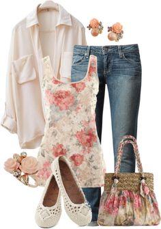 Floral tank top, jeans, white button down shirt, white flats, floral shoulder bag.