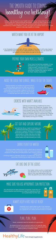 Don't let your health suffer when you're on holiday. You can stay healthy and still have fun in the sun, all it takes is a little planning. Get started with our handy, comprehensive infographic.