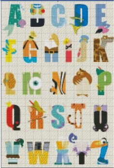 Etsy Shop- Stitch and a Song. This Disney Alphabet Cross Stitch is one of the cutest patterns you will ever find! Perfect for a baby nursery or play room or any room in your