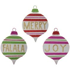 RAZ Glittered Paperboard Ornaments Set of 3  3 Assorted multicolored ornaments Set includes one of each style Multicolor with gold lettering - Merry, Joy, Falala Made of Paperboard