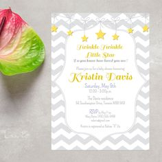 Twinkle Twinkle Yellow and Gray Baby Shower Invitation, Stars and Zig-Zag Baby…