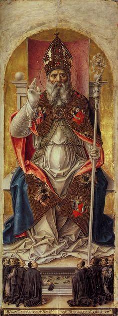 """Artist: Vivarini, Bartolomeo {ca.1440~ca.1500} """"St Ambrose"""" Polyptych {central panel} ~ Date: 1477 ~ Movement: Renaissance {Early Italian, """"Quattrocento""""} ~ Theme: Saints ~ Technique: Tempera ~ Museum: Gallerie dell' Accademia ~ Location: Venice, Italy"""