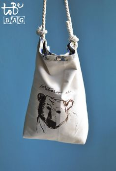 Handmade bag silkscreen printed with a bear on one by ToBeBag handprinted