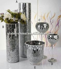 silver mirrored glass mosaic vase,crakle candle holder for wedding centerpieces Mosaic Vase, Mirror Mosaic, Mosaic Diy, Mirror Art, Glass Garden Art, Glass Art, Vases Decor, Art Decor, Eiffel Tower Vases