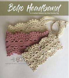 Boho Headband, Lace Headbands, Hippie Headbands, Crochet Crafts, Crochet Projects, Crochet Baby, Knit Crochet, Hippie Crochet, Crochet Summer