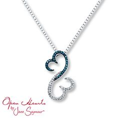 Open Hearts Necklace 1/6 ct tw Diamonds Sterling Silver. Love the blue diamonds!