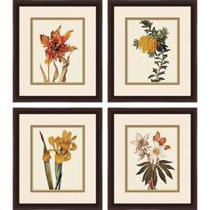 Botanical Flowers Floral Wall Art, Set of 4 - Walmart.com