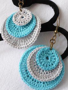 boucles d'oreille crochetées coton naturel