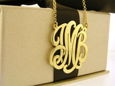Monogram necklace  1 inch Personalized by magichandjewelry on Etsy, $95.00