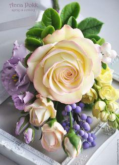 Купить Букет-комплимент - комбинированный, цветы из глины, полимерная глина, Холодный фарфор, роза, матиола