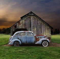 Both barn and car appear to have been abandoned. Looks like someone drove up and parked years ago and walked away. Also Pinned on Abandoned Buildings. Abandoned Buildings, Abandoned Houses, Abandoned Places, Abandoned Vehicles, Bmw Autos, Country Barns, Rusty Cars, Expositions, Old Farm