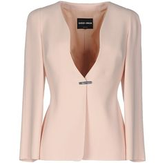 Giorgio Armani Blazer (€690) ❤ liked on Polyvore featuring outerwear, jackets, blazers, coats, light pink, single breasted jacket, giorgio armani jacket, pink jacket, blazer jacket and light pink jacket
