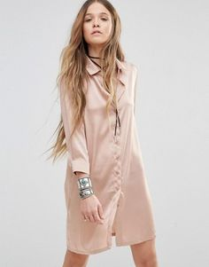 Young Bohemians Relaxed Shirt Dress With Delicate Embroidery Back Detail