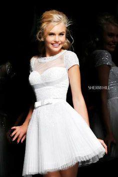 Sherri Hill Embellished Mini Dress Ivory 21231