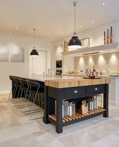 Two pendants over kitchen island | Stunning Black & Grey Painted Kitchen – Tom Howley